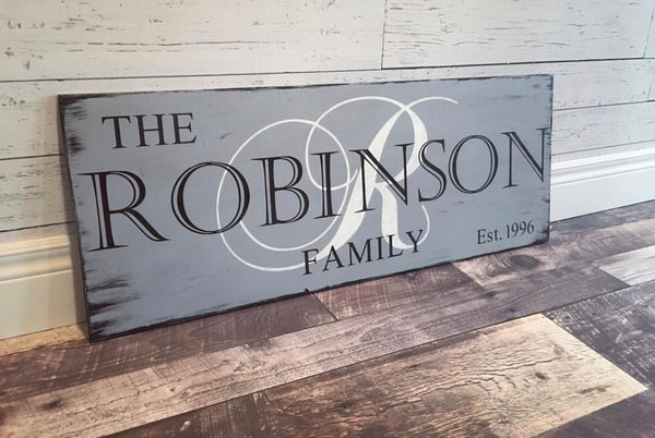rustic family custom wood sign