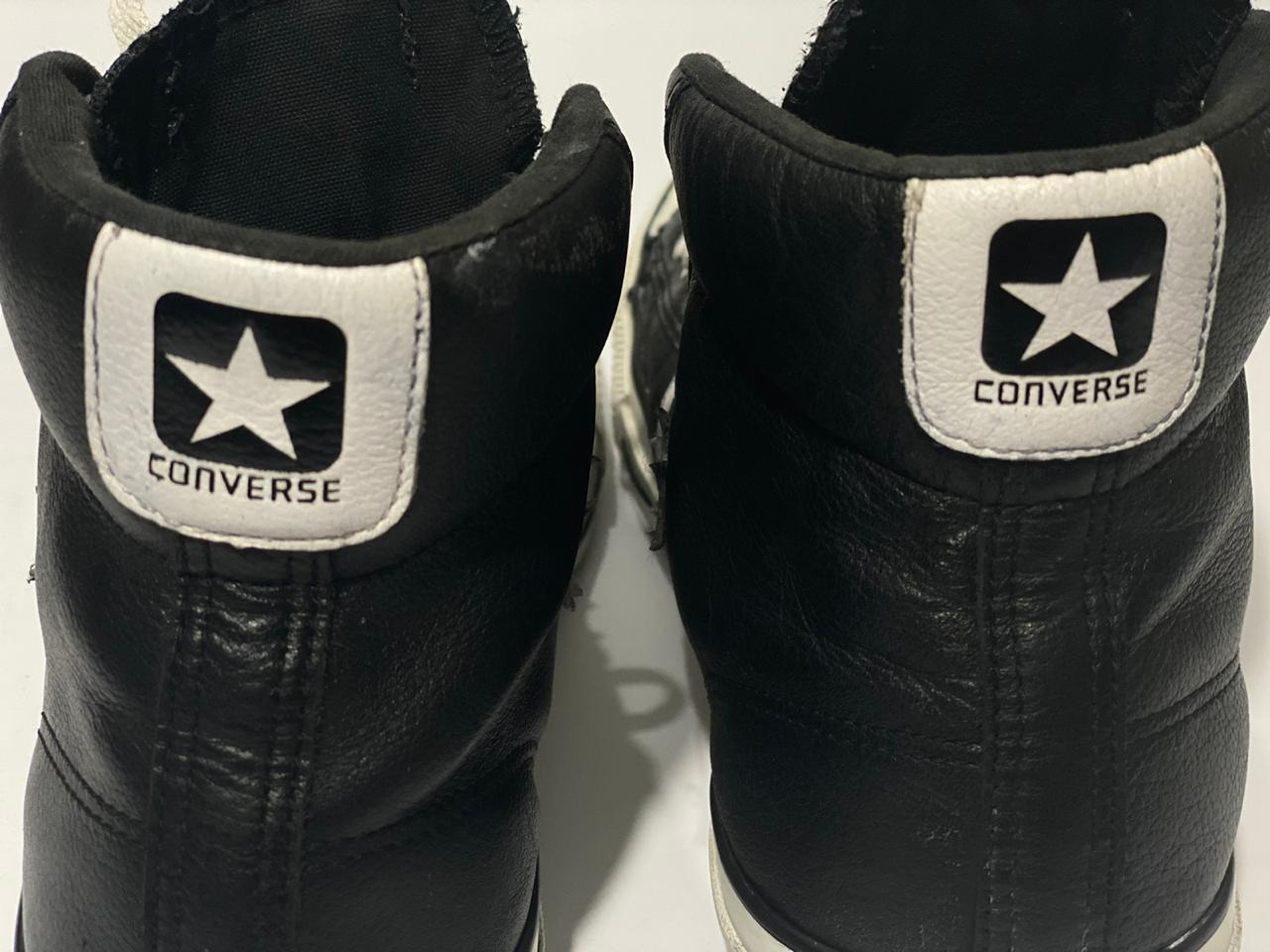 All Star Converse black leather with white stripe, Size Men # 8.5-women # 10- Uk# 8.5- PAK# 42