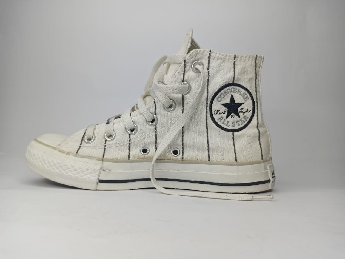 All Star Converse Chuck Taylor White With Black Strips, Size US# 7, UK# 5, PAK#37.5