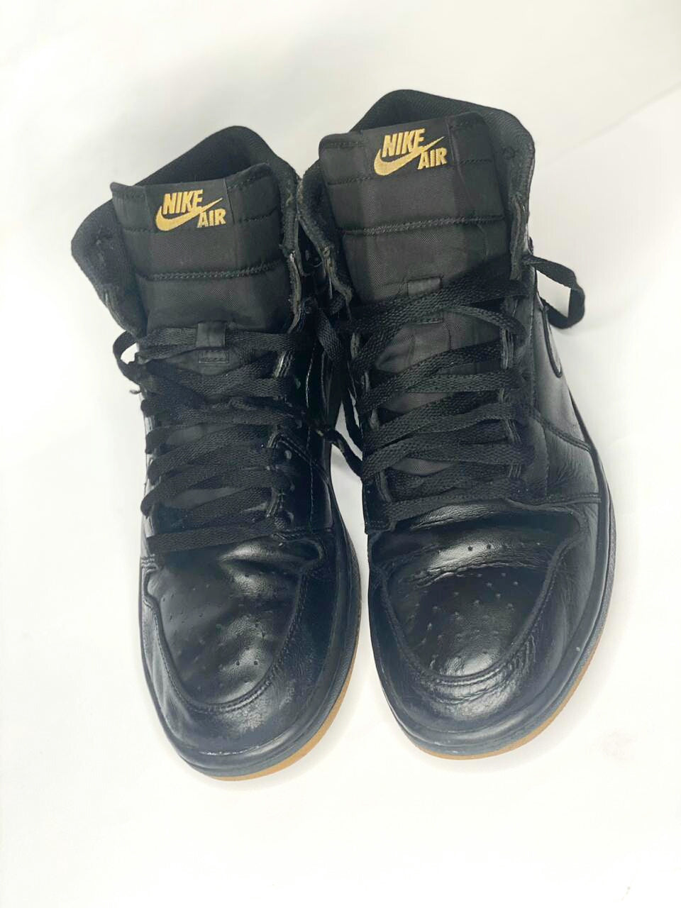 Air Jordan 1 Black Leather, Size  PAK# 44.5 US# 10.5- Uk# 9.