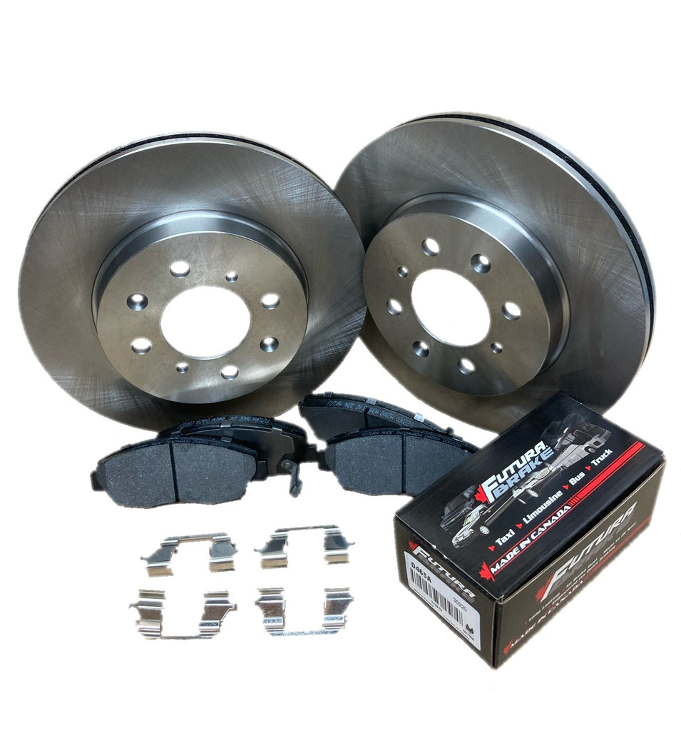 Rear semi-metallic Canadian-made brake pads and steel rotors for 2017 Kia Rio With 14