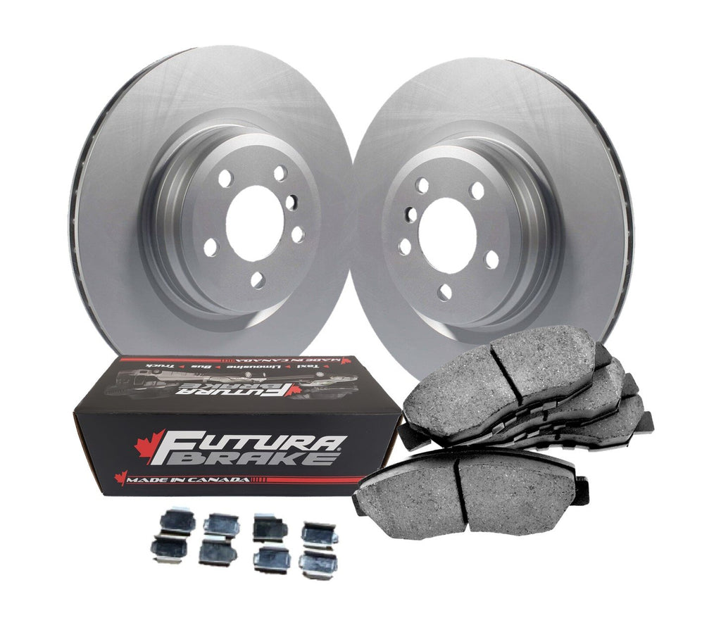 Front semi-metallic Canadian-made brake pads and anti-rust coated rotors for 2005 Kia Sportage FWD-The Brake Store