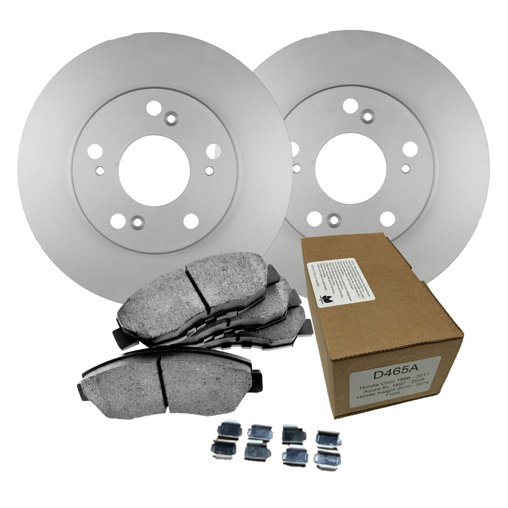 Front import ceramic brake pads and anti-rust coated rotors for 2014 Toyota Rav4 LE; 296mm front rotors