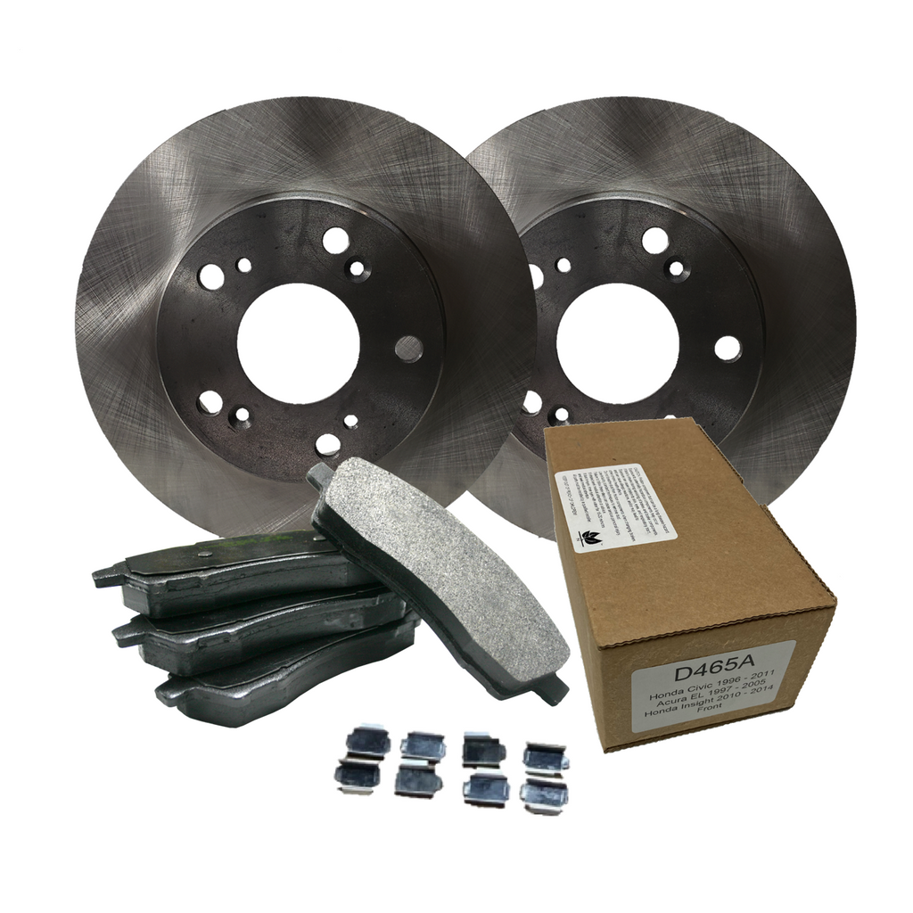 Front import ceramic brake pads and steel rotors for 2014 Dodge Durango With Solid Rear Rotors