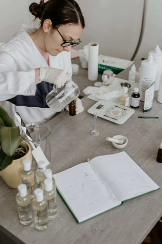 cosmetic chemist in her lab