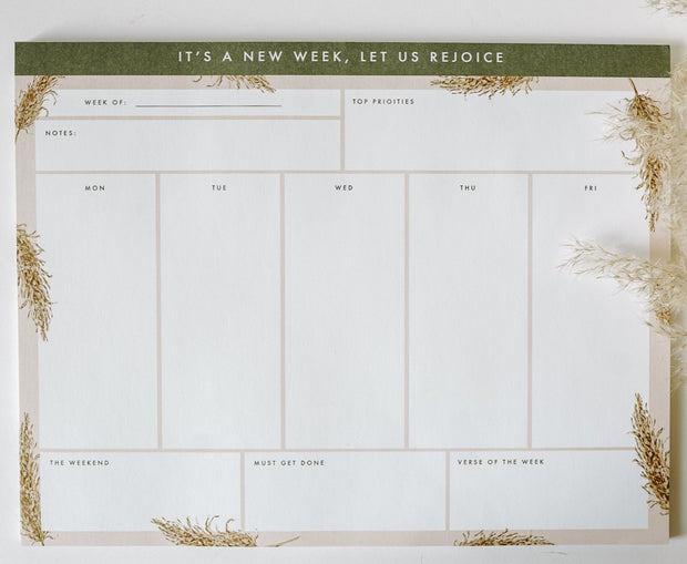 Pampas Grass Weekly Notepad