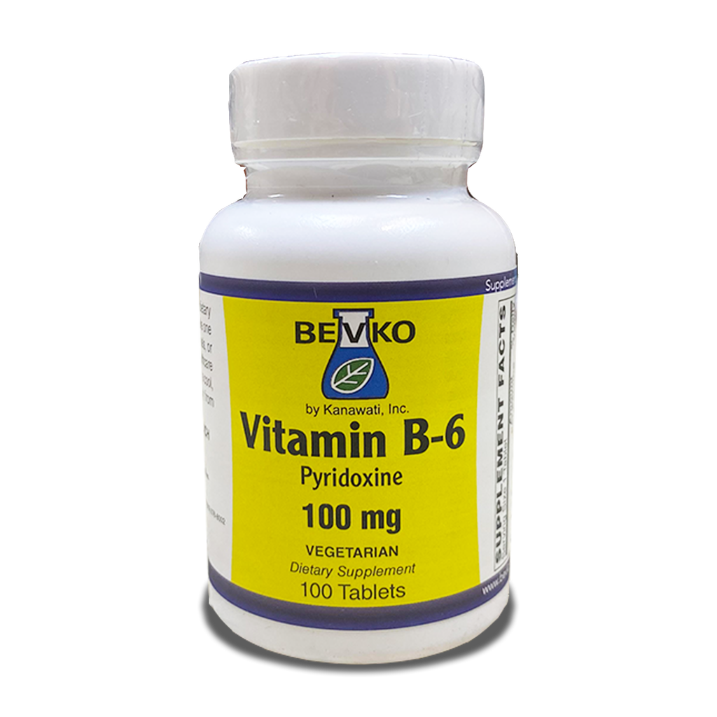 Vitamin B-6 100 mg | 100 Tablets - Bevko Vitamins