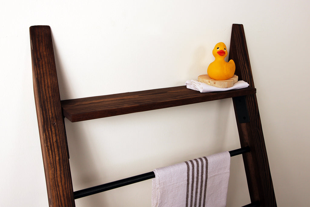 The Bed & Bath Ladder Rack in Chocojava and Clear Coat