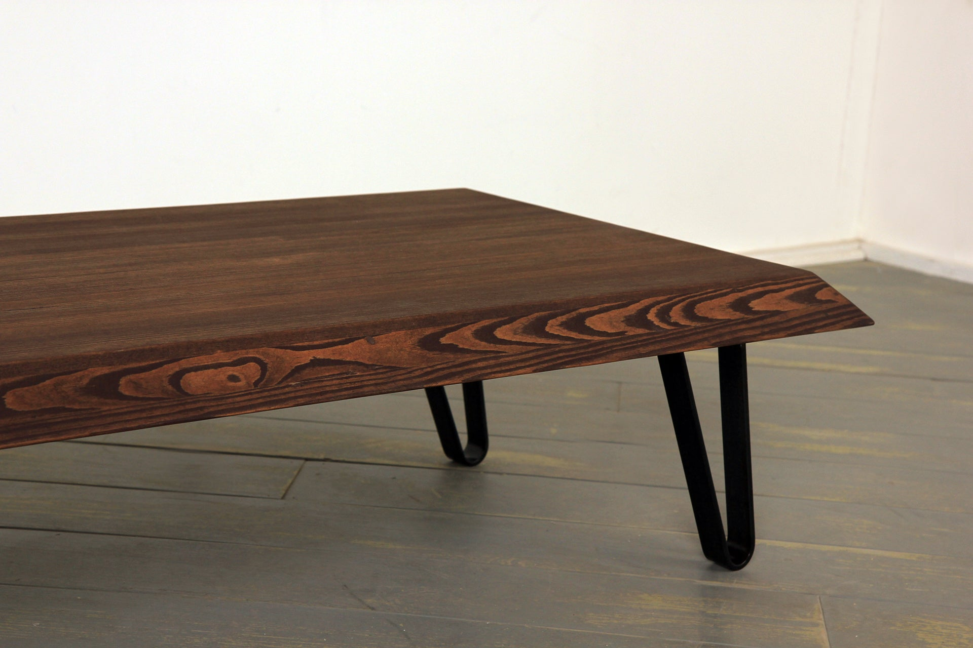 The Bevelled Coffee Table in Chocojava and Clear Coat