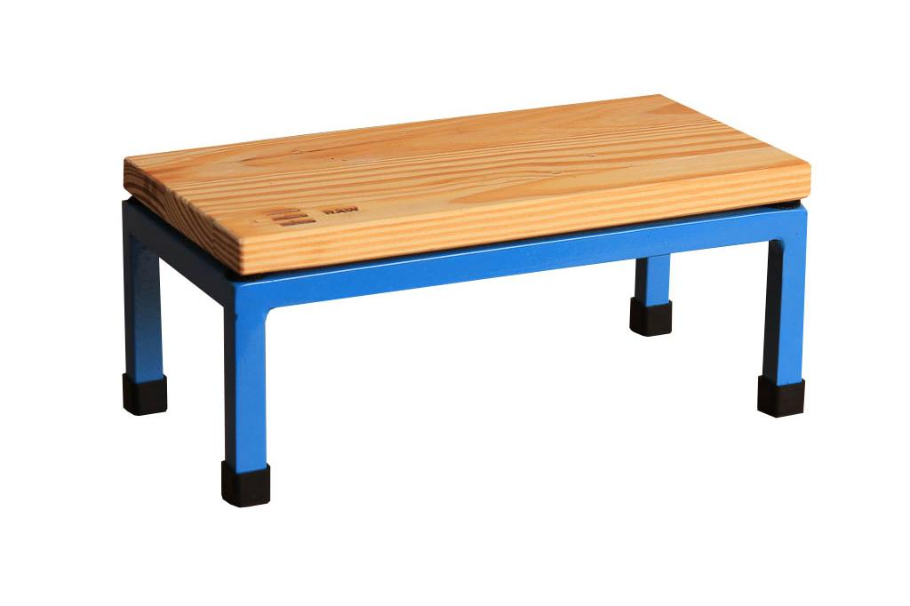 The Mini Table in Raw and 5012 Light Blue
