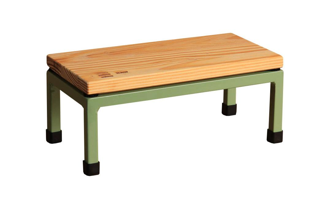 The Mini Table in Raw and 6021 Pale Green