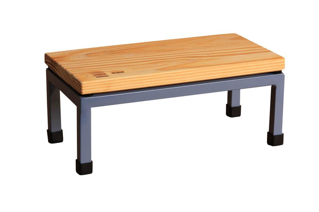 The Mini Table in Raw and 5014 Pigeon Blue