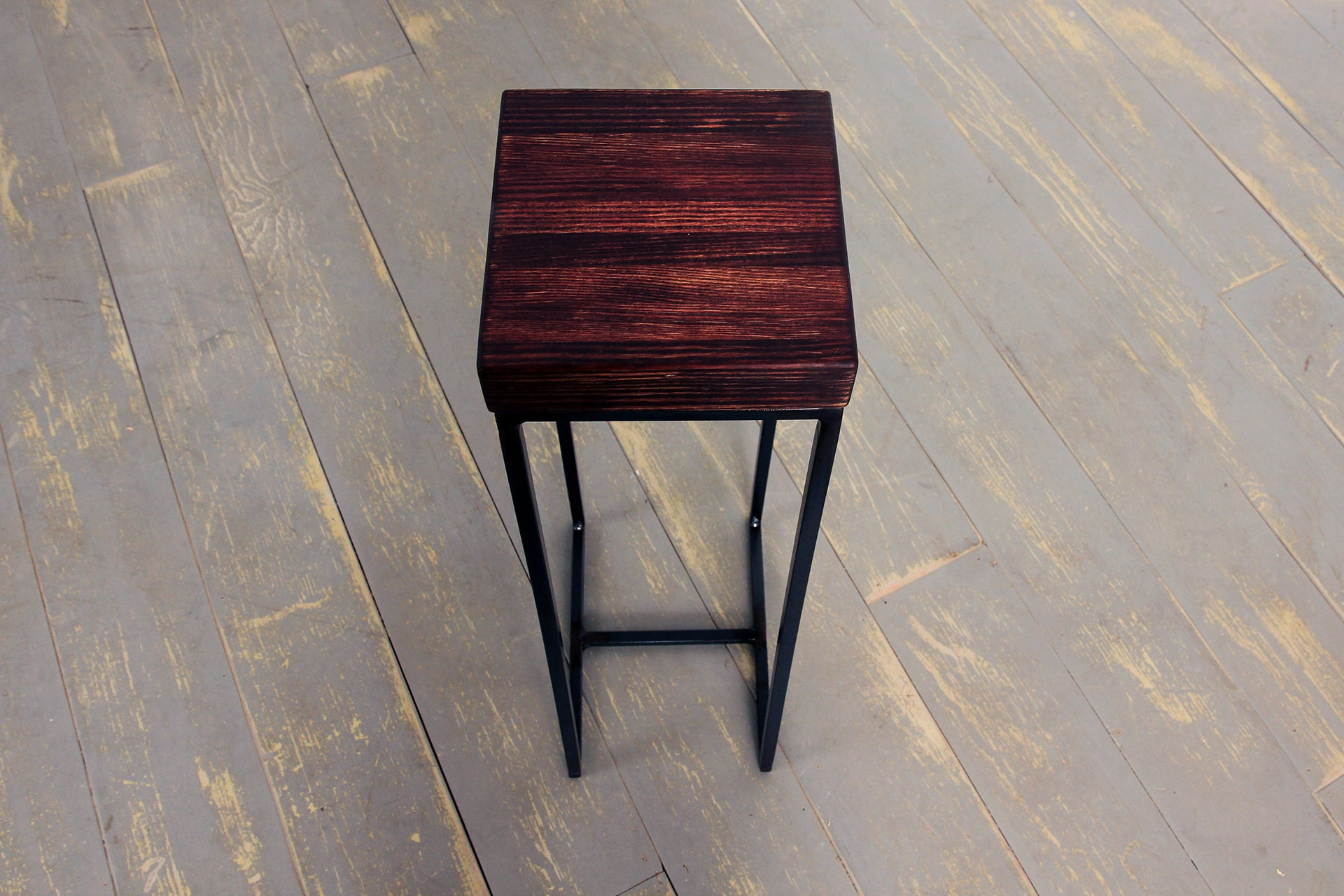 The High Ball Table in Distressed Bordeaux and Clear Coat