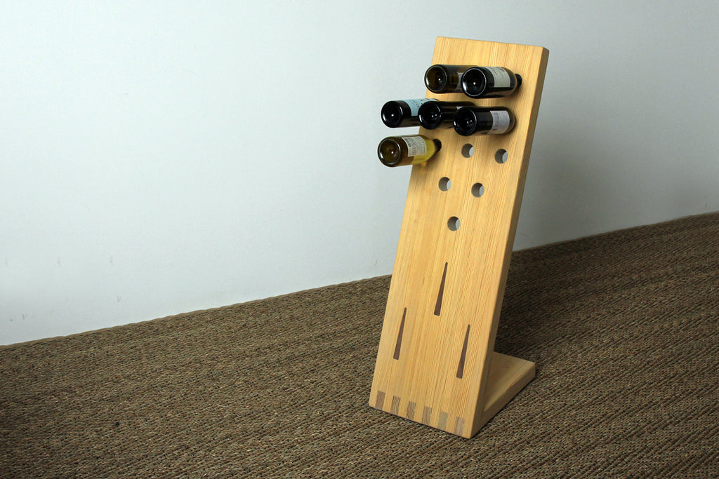 The Pindeck Wine Rack in Khaki with Arrow Inlays