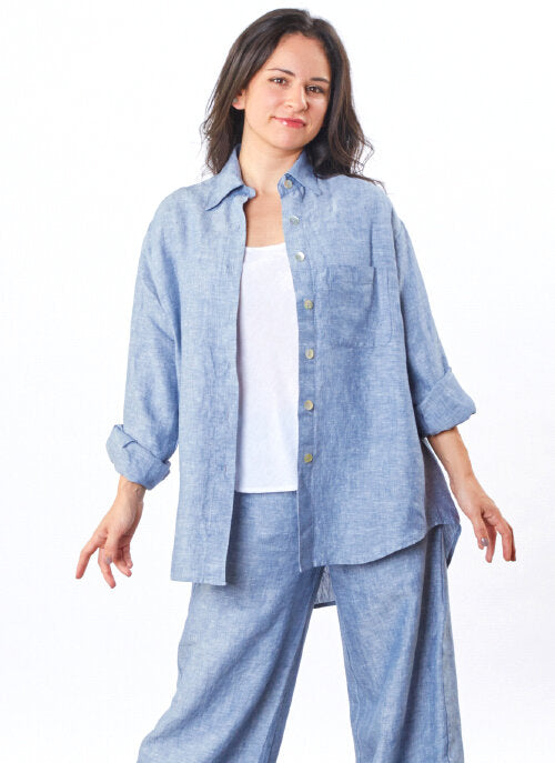 Boyfriend Shirt in Cross Dyed Linen
