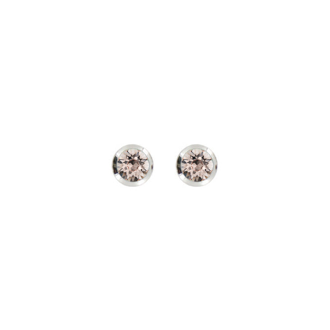 Bright Rhodium Round Post Earring-Silk