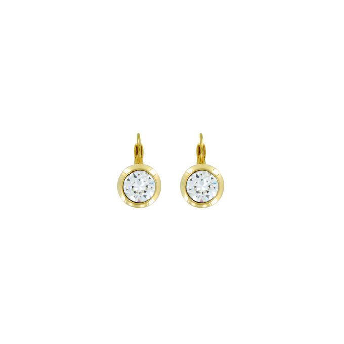 Bright Gold Round Euroback Earring-Crystal