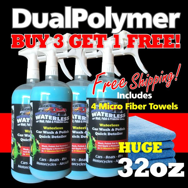 FOUR PACK ($24.99ea) DualPolymer Single 32oz with MicroFiber Towels