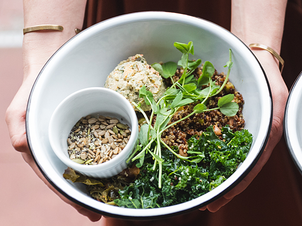 Bodhi Bowl with Szechuan Mushrooms, Quinoa-Pepita Pilaf, Sesame Kale, and Broccoli Revethada