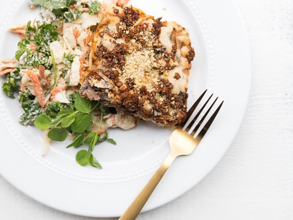 Moussaka with Lemony Broccoli Revethada