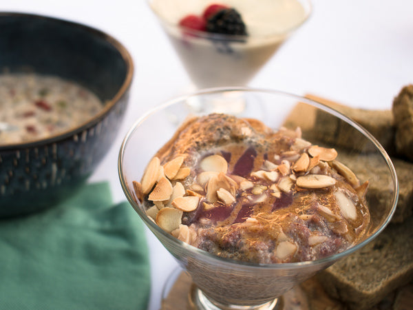 Baklava Chia Pudding with Aromatic Coconut-Nectar