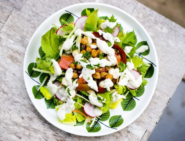 Salad of the Week with Piccata Cauliflower and Chickpeas and Pomegranate Vinaigrette