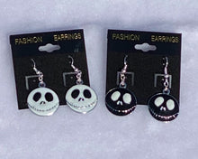 Load image into Gallery viewer, Halloween Jack Skeleton Enamel Charm Dangle Earrings