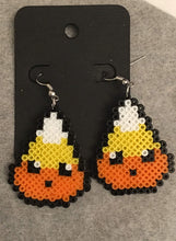 Load image into Gallery viewer, Halloween Candy Corn Perler Dangle Earrings