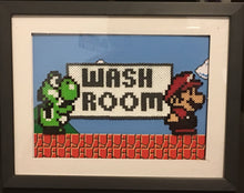 Load image into Gallery viewer, Mario & Yoshi Wash Room- Framed Mini Perler Beads- Perfect for Kids Room, Bathroom or Classroom Decor