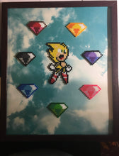 Load image into Gallery viewer, Glass Framed Super Sonic & 7 Chaos Emeralds Mini Beads, Kids Room, Game Room, Classroom Decor- Video Game Art, Geeky decorations, Perler Art