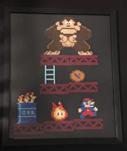 Framed Donkey Kong 1981- Mini Perler Beads- Perfect for Kids Room or Game Room Decor