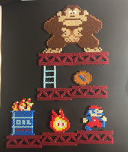 Load image into Gallery viewer, Framed Donkey Kong 1981- Mini Perler Beads- Perfect for Kids Room or Game Room Decor