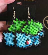 Load image into Gallery viewer, Bulbasaur Mini Perler/Artkal Bead Pokemon Dangle Earrings- Free Shipping