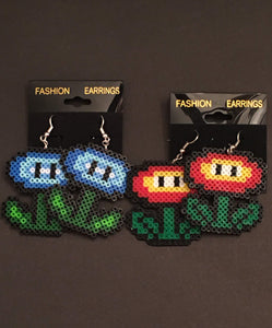 Ice & Fire Flower Mini Perler/Artkal Bead Dangle Earrings- Free Shipping