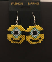 Load image into Gallery viewer, Minion Inspired Mini Perler/Artkal Bead Dangle Earrings