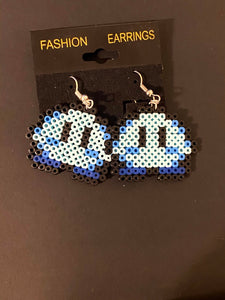 Kirby Inspired Mini Perler or Artkal Bead Gaming Dangle Earrings