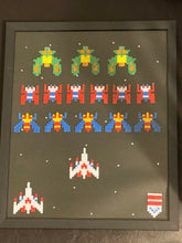 Load image into Gallery viewer, Framed Galaga Pixel Art- Perfect for Father's Day, Anniversary, Game Room, Wall Decor, & More