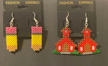 Load image into Gallery viewer, School & Pencil Mini Perler/Artkal Bead Dangle Earrings- Perfect for Teacher Appreciation