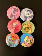 Load image into Gallery viewer, My Little Pony Inspired Digitally Designed Handmade Pins/Pinbacks