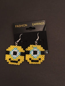 Minion Inspired Mini Perler/Artkal Bead Dangle Earrings