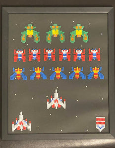 Framed Galaga Pixel Art- Perfect for Father's Day, Anniversary, Game Room, Wall Decor, & More