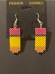School & Pencil Mini Perler/Artkal Bead Dangle Earrings- Perfect for Teacher Appreciation