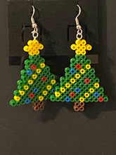 Load image into Gallery viewer, Gingerbread Man and Christmas Tree Mini Perler or Artkal Bead Dangle Earrings- Christmas, Fun Earrings,