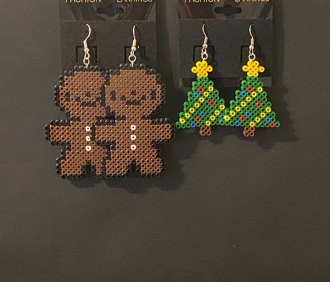 Gingerbread Man and Christmas Tree Mini Perler or Artkal Bead Dangle Earrings- Christmas, Fun Earrings,