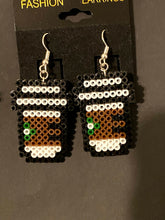 Load image into Gallery viewer, Starbucks Inspired Coffee Mini Perler/Artkal Bead Dangle Earrings