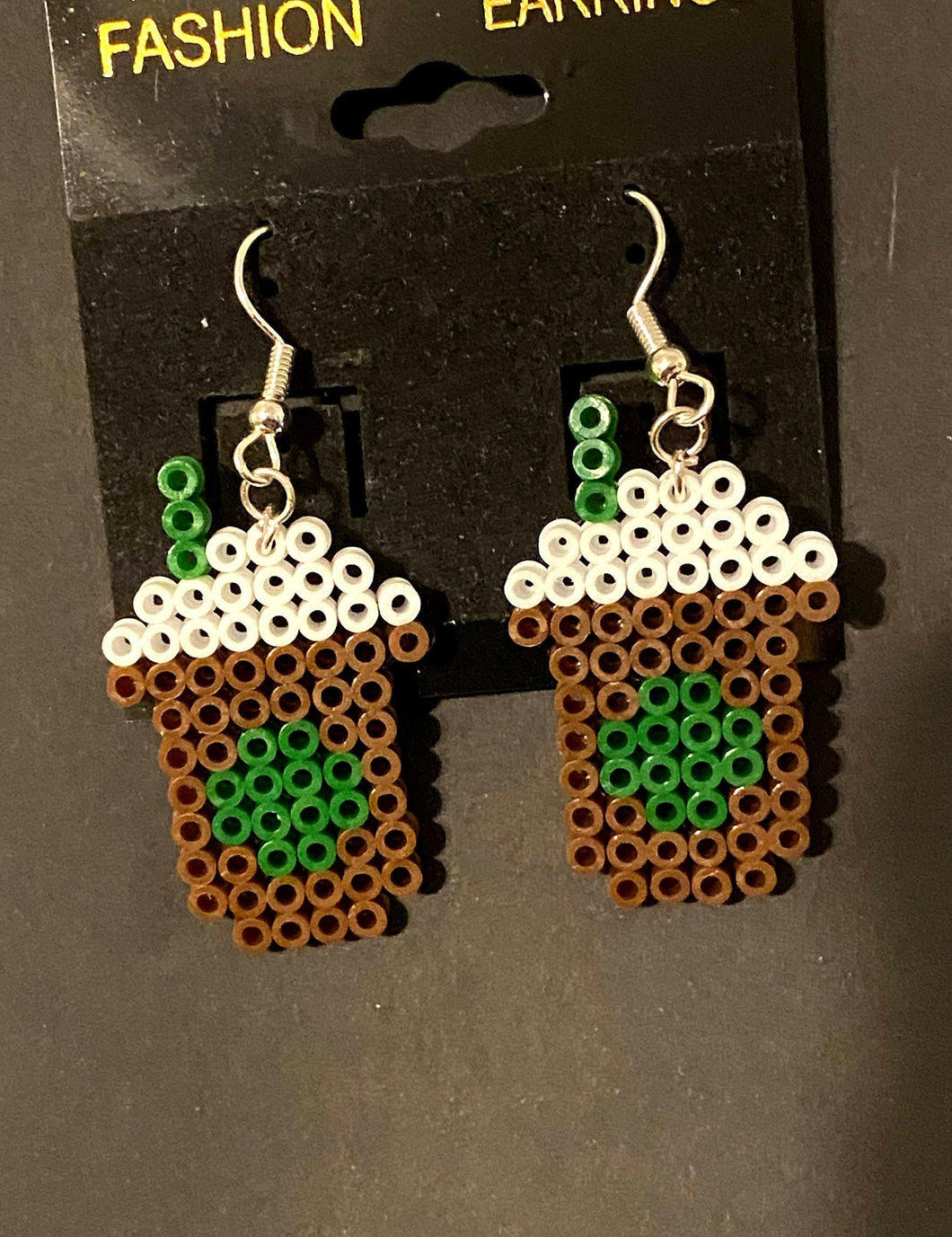 Starbucks Inspired Coffee Mini Perler/Artkal Bead Dangle Earrings
