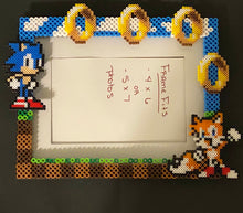 Load image into Gallery viewer, Sonic and Tails Inspired Perler Artkal Glass Picture Frame - Fits 4x6 or 5x7 Photos- Choose Horizontal or Vertical