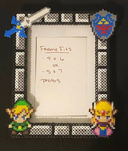 Load image into Gallery viewer, Legend of Zelda Inspired Perler Glass Picture Frame - Fits 4x6 or 5x7 Photos- Choose Horizontal or Vertical