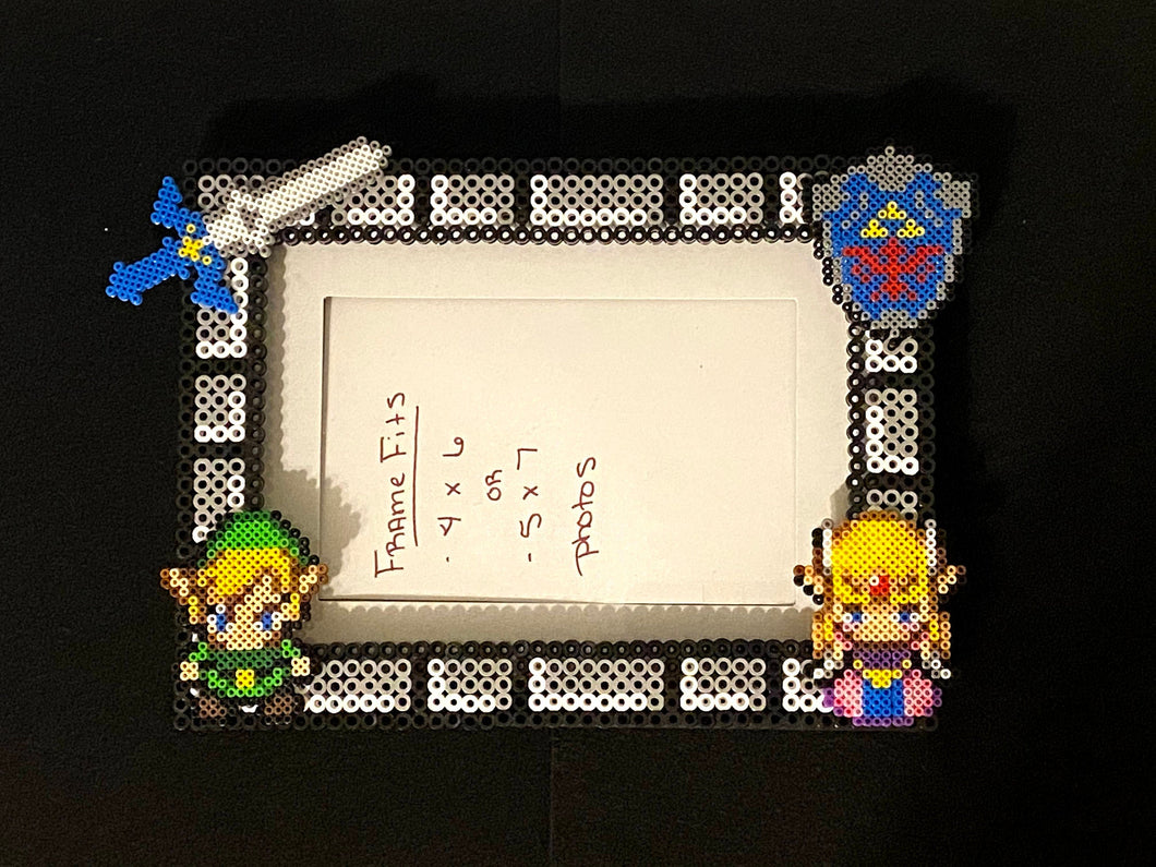 Legend of Zelda Inspired Perler Glass Picture Frame - Fits 4x6 or 5x7 Photos- Choose Horizontal or Vertical