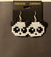 Load image into Gallery viewer, Jaws Inspired Sharks and Panda Mini Perler or Artkal Bead Dangle Earrings